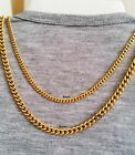 "18""-30"" Men's Stainless Steel 4mm 5mm 24k Gold Plated Cuban Link Chain Necklace"
