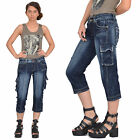 New Womens Ladies Dark Blue Faded Distressed Denim Cargo Combat Shorts 3/4 Jeans