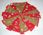 Hand Made 10ft /13 Flag Red and Gold Toy Shop Christmas Fabric Bunting Garland