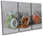 Spices Jars  Food Kitchen TREBLE CANVAS WALL ART Picture Print VA