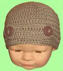 SMALL BABY CROCHET BEANIE HAT button bar skull winter cap knit gift cory brown