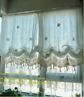 Country White Balloon Sheer Austrian Cafe Kitchen Curtain With Crochet Trim E032