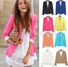 Womens Candy Color Slim Foldable Sleeve Blazer Suit Jacket Coat 7 Colors HUK