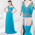 Deep V Neck Designer Formal Occasion Sparkle Evening Prom Party Gown Full Dress