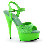 Neon Green UV BlackLight Platform Drag Queen High Heels Shoes size 11 12 13 14