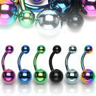 TItanium IP Simple Double Ball Belly Ring Pierced Navel Naval