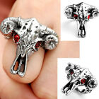 1x Mens Baphomet Stainless Steel Red CZ Gem Eye Goat of Mendes Ring Punk Jewelry