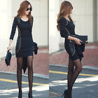 New Fashion Trendy Office Lady 3/4 Sleeve Round Neck Casual BodyCon Mini Dress