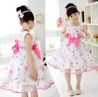 Kids Children Girls BowKnot Floral Princess Party Dress For 2-13 Years