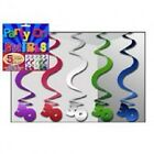 30th BIRTHDAY HANGING SWIRL DECORATIONS ~ 5 PACK - Assorted