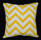 le05a Yellow on Beige Zig Zag Cotton Canvas Cushion Cover/Pillow Case Custom Siz
