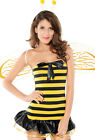 Sexy Bee Costume+G+Antennae+Wings Adult Dress Black Yellow Fancy Party Cute