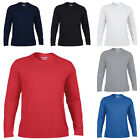 Gildan Mens Performance Long Sleeve Jersey Knit Crew Neck Shirt Top Size S-3XL