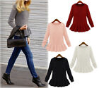 Fashion Womens Retro Crewneck Flouncing Peplum Sweaters Knitwear Pullover MPH