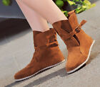 Women's fashion belt buckle flat with Martin Ankle Boots Booties Shoe Plus Size