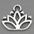 "Wholesale Lots Charm Pendants Lotus Flower Silver Tone 17mmx14mm(5/8""x4/8"")"