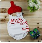Baby Boy Girl Cute Milk Bottle Costume One Piece Romper Outfit+Hat Set 3-24M