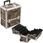 Leopard 8 Accordion Extendable Trays Makeup Artist Rolling Train Case C6006