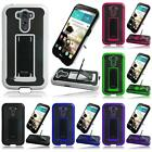 For LG G3 Ultra Slim Hybrid Leather Hard + TPU Kickstand Armor Cover Case + LCD