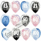 """HAPPY BIRTHDAY GLITZ 13-60th 12"""" PEARL BALLOONS 6PACK PARTY DECORATION,3 COLOURS"""