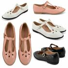NEW DOLCIS LADIES COMFORTABLE T BAR GEEK SHOES OFFICE WORK MARY JANE FLAT PUMPS