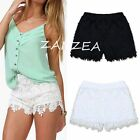 UK 8-20 Plus Womens Ladies White Broderie Floral Denim Lace Shorts Elastic Pants