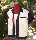 Hand Made 1950's Style Mens Rockabilly Bowling Shirt Black & Cream