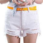 Fashion Vintage High Waist Jeans Ripped Destroyed Denim Shorts Hot Pants White