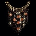 Sparkling Rhinestone Fall Neckline Womans Top T Shirt Size S M L XL 2XL  15570