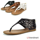 Gladiator T-Strap Ankle Sandal Zipper Thong Cut Out Casual Salwa Black Tan White