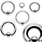 Captive Bead Nipple Ring 316L Stainless Steel 0g-20g sizes FREE SHIP
