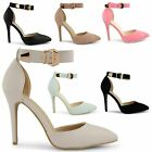 NEW LADIES HIGH STILETTO HEEL POINT TOE ANKLE STRAP GOLD BUCKLE SANDALS SIZE 3-8