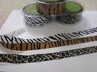 MAY ARTS Grosgrain Animal Print Ribbon - Zebra Tiger Leopard - various widths