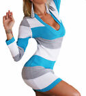 LADIES SEXY V NECK STRIPED TUNIC CASUAL TOP KNITTED MINI DRESS JUMPER 8 10 12 14