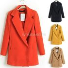 Fashion Women's Double-breasted Wool Solid Color Long Casual Coat W6123 MPH