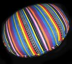 ak333n Pink Orange Purple Yellow Stripe Round Cotton Canvas Cushion/Pillow Cover