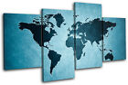 World Atlas Funky Maps Flags MULTI CANVAS WALL ART Picture Print VA