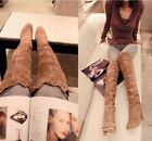 Womens Ladies Real Leather Mesh Cut Trim Block Heel Over Knee Boots Shoes