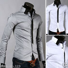 Mens Casual Slim Fit Dress Shirts 2 color 4 size