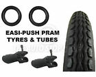 2 x EASI-PUSH PRAM STROLLER TYRES + BENT VALVE TUBES suits Phil and Teds