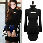 Sexy Fall winter Long Sleeve Turtleneck Stretch Knitted Bodycon Club MINI Dress