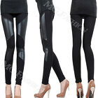 NEW Fashion Sexy Cotton Faux Leather Tights Leggings Skinny Pants Black Stretchy