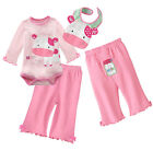 3 Piece Infant Long Sleeve Bodysuits / Pants / Bibs PINK MOO 0~18months (1312)