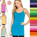 PLUS SIZE ADJUSTABLE SPAGHETTI STRAPS LAYERING LONG TANK TOP CAMI 1X-2X-3X #5745