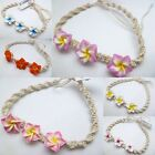 NEW Three Flower Plumeria Fimo Clay Hemp Bracelet/Anklet Hawaiian Jewelry
