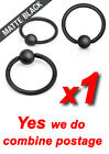 Matte Black Over 316L Surgical Steel Captive Bead Rings Cartilage Tragus Nipple