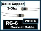 Solid Copper RG6(White)Coax/Coaxial Satellite/Cable-TV/Antenna/Dish Wire Cord