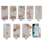 Luxury 3D Rhinestone PU Leather Wallet Flip Stand Case Cover For iPhone 5 5G 5S