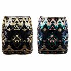 Women's Stretch Waist Aztec Pattern Blue Gold Sequin Ladies Mini Short Skirt