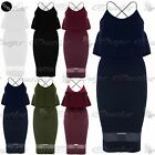 Womens Crepe Camisole Ladies Cross Straps Stretchy Frill Mesh Midi Bodycon Dress